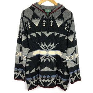 Vintage Aztec Print Wool Hooded 1/4 Zip Pullover